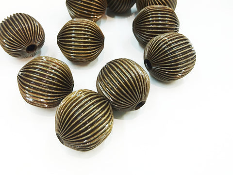 3cm Brass Ribbed Bead, Antique brass, 2 pcs | 3cm銅西瓜珠, 青古銅色, 2個