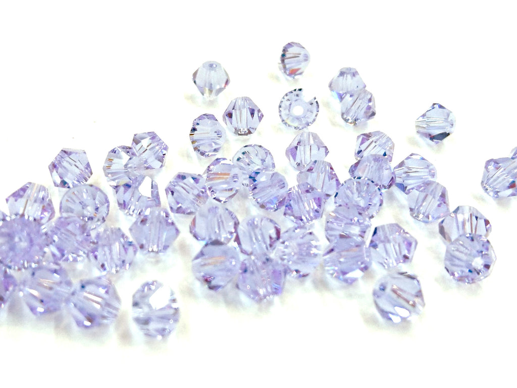 Bicone Glass Bead, 5mm, lavendar, 72pcs | 雙尖水晶玻璃, 5mm, 淺薰衣草, 72粒