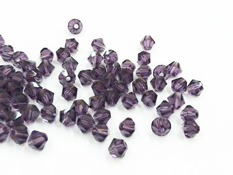 Bicone Glass Bead, 6mm, DarkViolet, 72pcs | 雙尖水晶玻璃, 6mm, 深紫羅蘭, 72粒