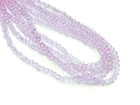 Glass beads, 3x3.5mm faceted rondelle, Transparent Lavender (#27) | 玻璃珠, 3x3.5mm, 切面扁珠, 透明紫羅蘭色 (#27)