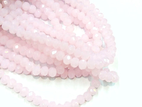 Glass beads 5x6mm faceted rondelle, Opaque Pink (#48) | 玻璃珠, 5x6mm, 切面扁珠, 果凍粉紅色 (#48)