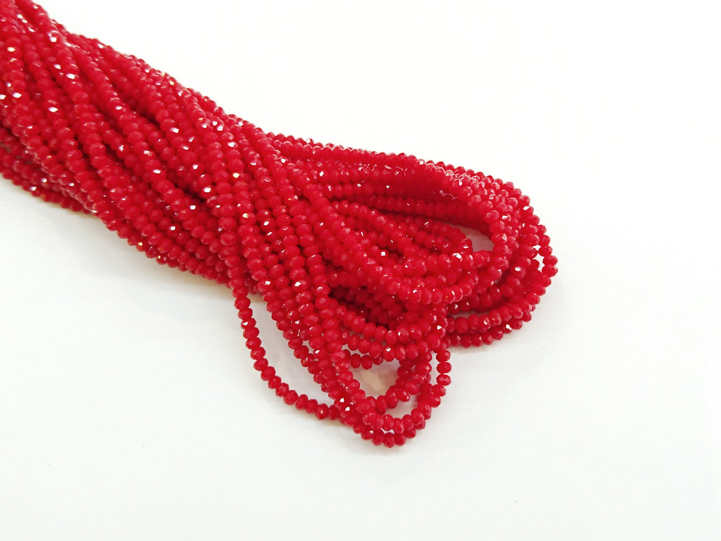 2x3mm faceted rondelle glass beads, Solid Light Red (#67) - amakeit bead 天富