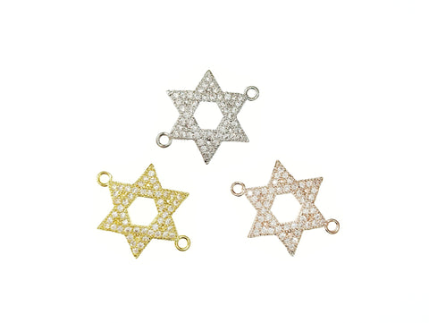 Cubic Zirconia Link, 21mm Star of David, Price Per Piece - amakeit bead 天富