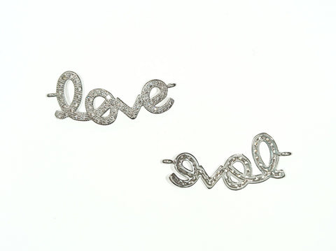 Cubic Zirconia Link, 10x27mm Love Charm, Price Per Piece - amakeit bead 天富