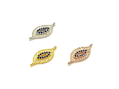 Cubic Zirconia Link, 7x18mm Turkish evil eye, Price Per Piece - amakeit bead 天富