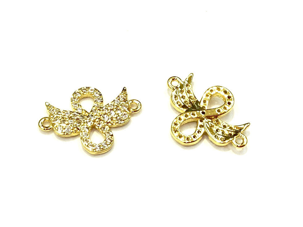 Cubic Zirconia Link, 14x19mm Wing, Price Per Piece - amakeit bead 天富