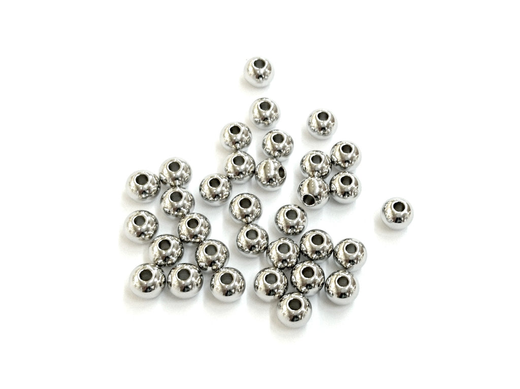 Stainless Steel Beads, 6mm, Solid Ball, Price Per Pack - amakeit bead 天富