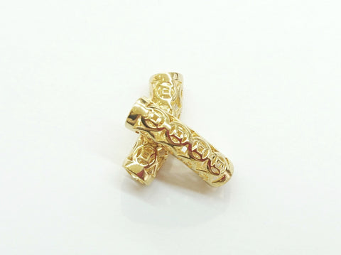 Bugle Findings, 7x26mm, Golden color, Chinese coin pattern, Fit 5mm cord, Price Per Piece - amakeit bead 天富