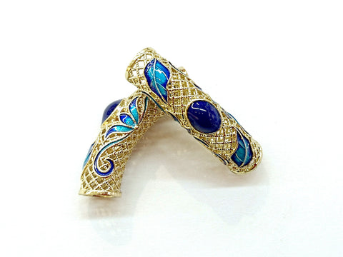 Bugle Findings, Brass, Enamel, 10x42mm, Fit 6mm cord, Price Per Piece - amakeit bead 天富