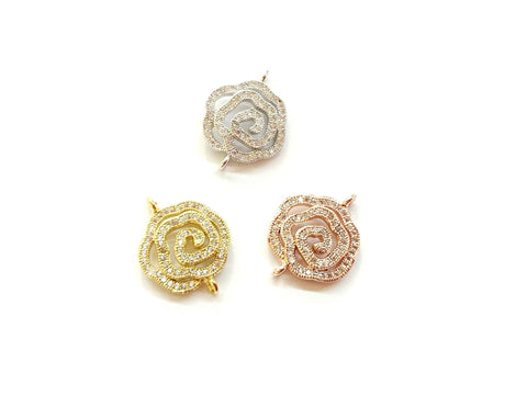 Cubic Zirconia Link, 16x20mm Rose, Price Per Piece - amakeit bead 天富