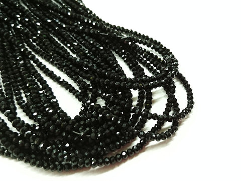 2x3mm faceted rondelle glass beads, Solid Black (#02) - amakeit bead 天富