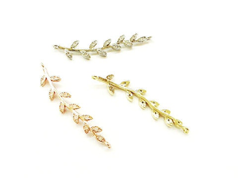 Cubic Zirconia Link, 7x36mm leaf, Price Per Piece - amakeit bead 天富