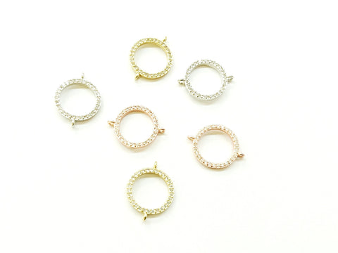 Cubic Zirconia Link, 13mm Circle, Price Per Piece - amakeit bead 天富