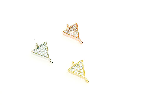 Cubic Zirconia Link, 8x11mm Triangle Charm, Price Per Piece - amakeit bead 天富