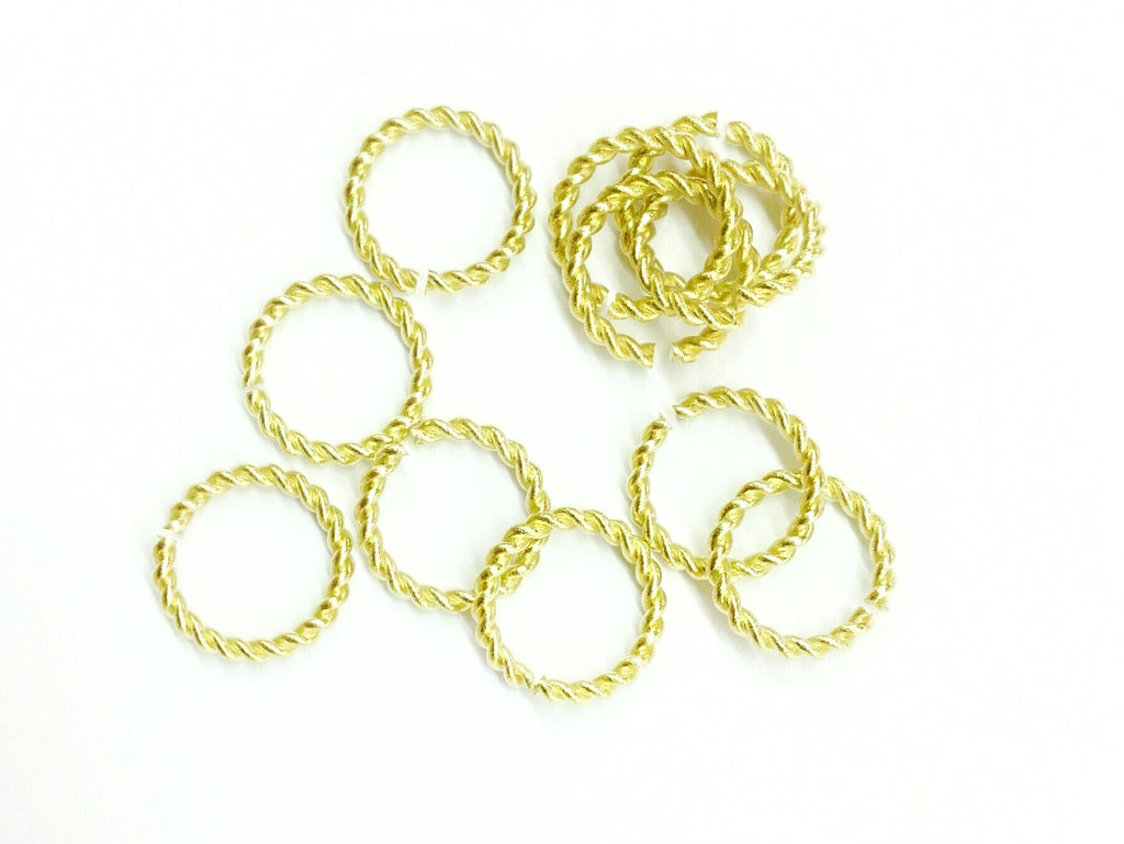 Jump Ring, 13mm Twisted Brass Jump Rings, 20 Pieces Per Pack - amakeit bead 天富