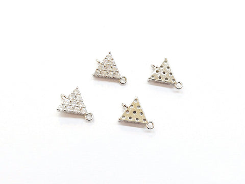 Connector, Brass, Cubic Zirconia, 8x11mm, Triangle , 1 Pc | 銅連接配件, 方晶鋯石, 8x11mm, 三角形, 1個