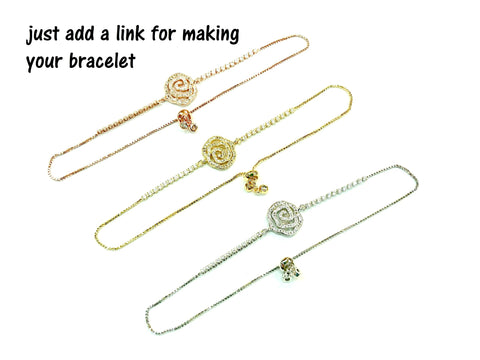 Adjustable Clasp Bracelet, Open-loop End, Cubic Zirconia Framed | 百搭鋯石手鏈