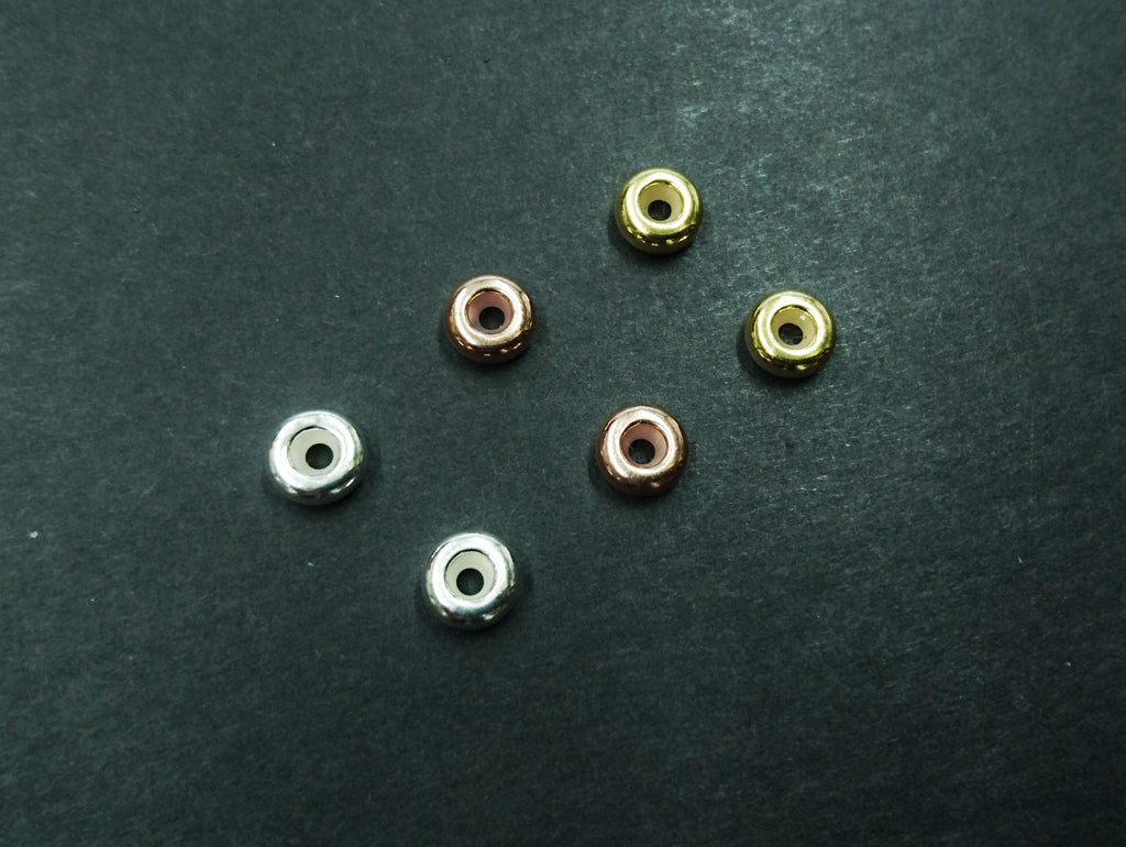 Sterling Silver Stopper Spacer Beads, 3x7mm, Rondelle, 2 Pieces | 925銀隔珠, 可定位, 2粒