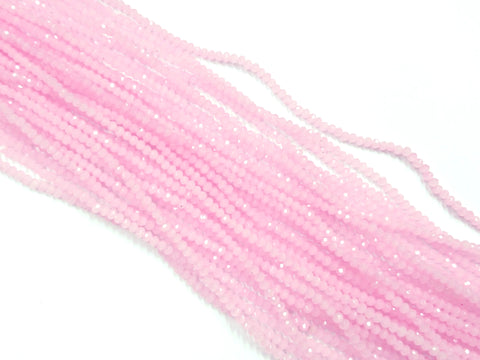 Glass beads, 2x3mm faceted rondelle, Opaque Pink (Dyed) | 玻璃珠, 2x3mm, 切面扁珠, 果凍粉紅色 (染色)