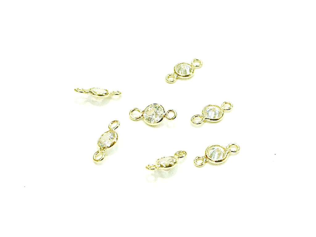 Connector, Brass, Cubic Zirconia, Bezel Connector, 4.5mm Link, 4 Pcs | 連接配件, 銅邊, 方晶鋯石, 4.5mm, 4個