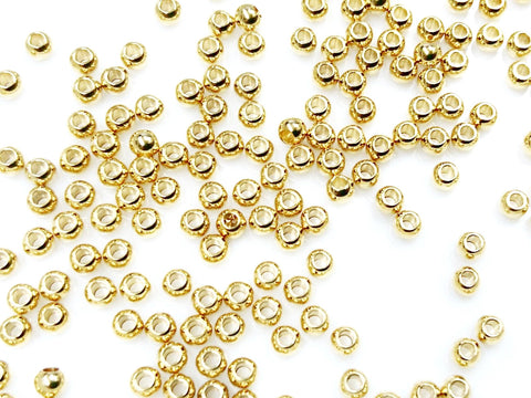 Stainless Steel Beads, Gold color, 3mm, Solid Ball, 1.2mm hole, 36 Pieces | 不銹鋼珠, 金色, 3mm, 實心, 1.2mm孔, 36粒