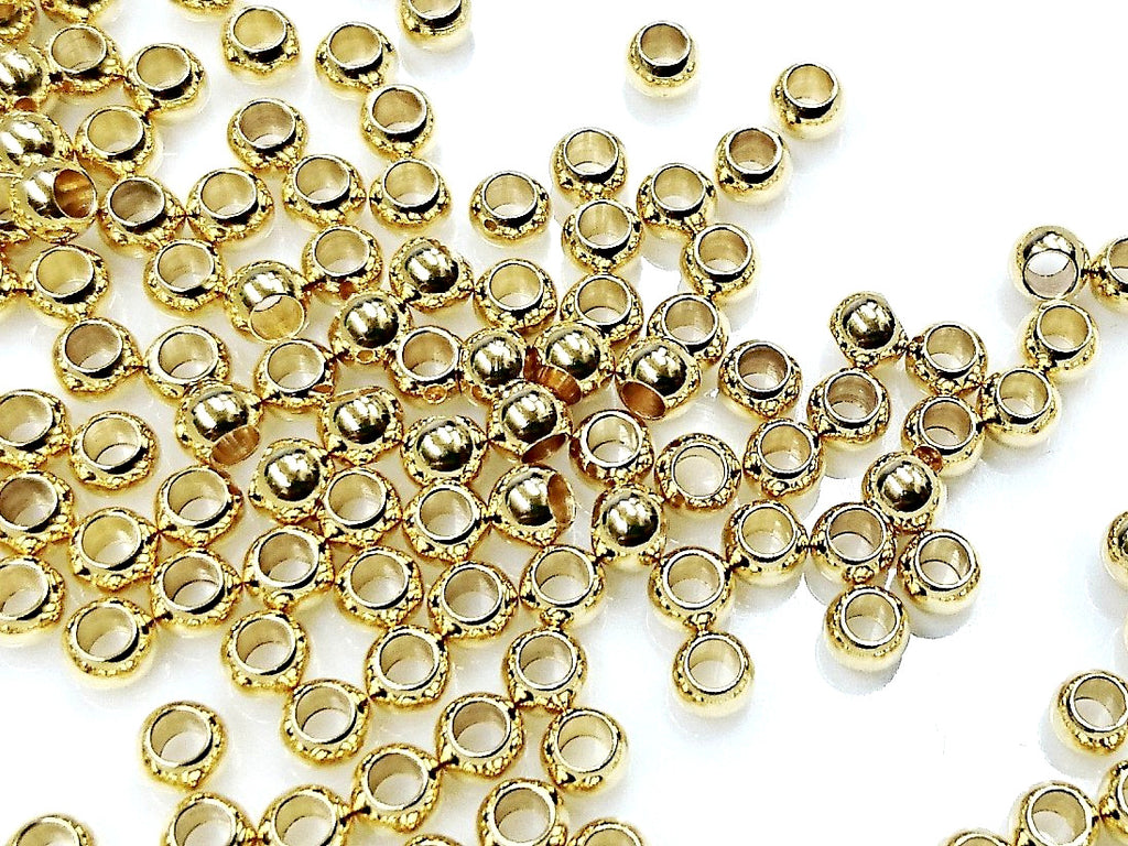 Stainless Steel Beads, Gold color, 4mm, Solid Ball, 2mm hole, 36 Pieces | 不鏽鋼珠, 金色, 4mm, 實心, 2mm孔, 36粒