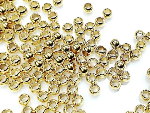 Stainless Steel Beads, Gold color, 4mm, Solid Ball, 2mm hole, 36 Pieces | 不銹鋼珠, 金色, 4mm, 實心, 2mm孔, 36粒