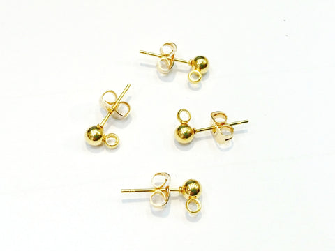 Stainless Steel Ball Earring Stud Pins, 4mm Ball with Ring, 2 Pairs | 不鏽鋼耳針, 4mm圓珠金色, 2對