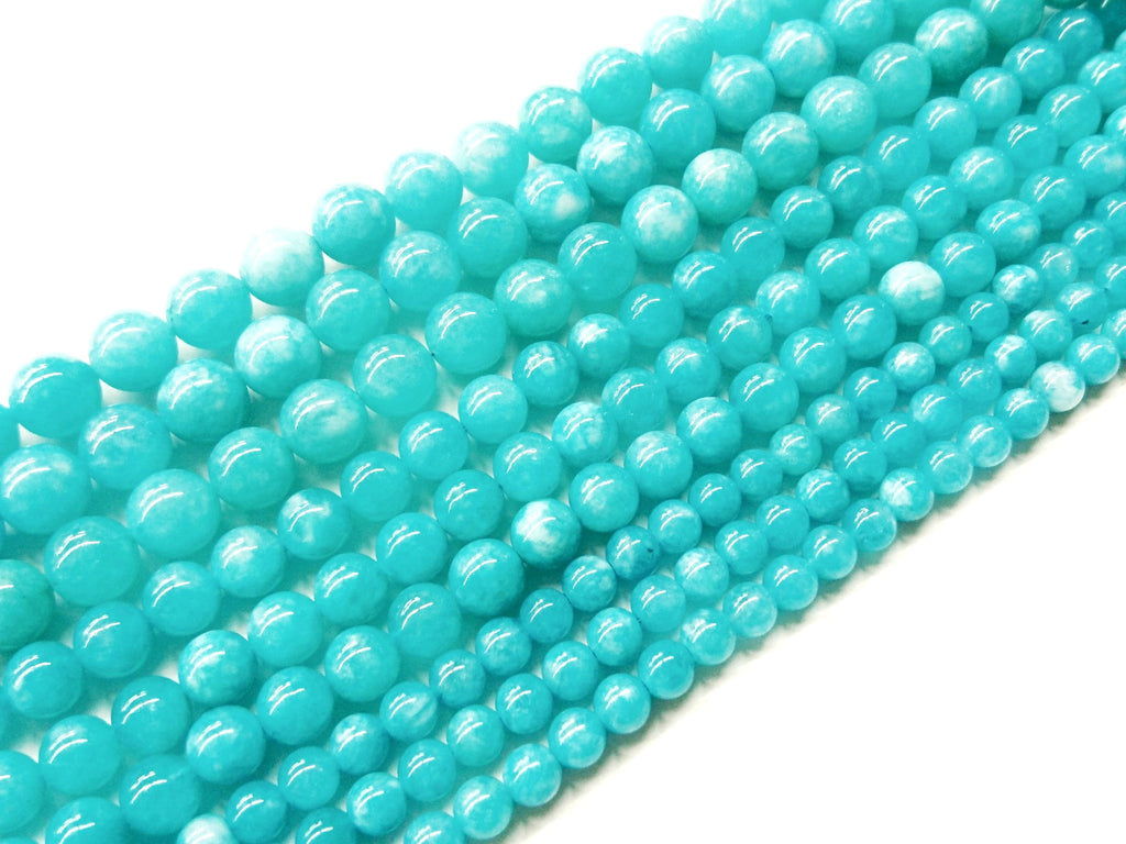 Blue, Chalcedony, Dyed color, imitation Amazonite, Smooth Round Beads, Gemstone Beads | 玉髓, 仿製天河石, 水晶