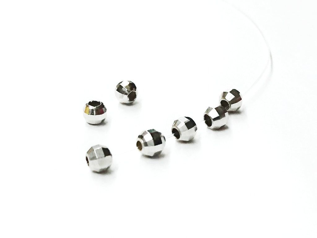 Beads, Sterling Silver, Facet-cut, Multi-cut, 4mm | 925銀珠, 4mm批花圓珠