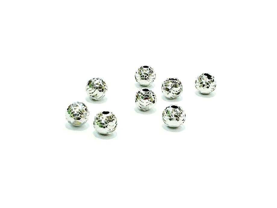 Beads, Sterling Silver, Multi-cut, 6mm | 925銀珠, 6mm批花圓珠