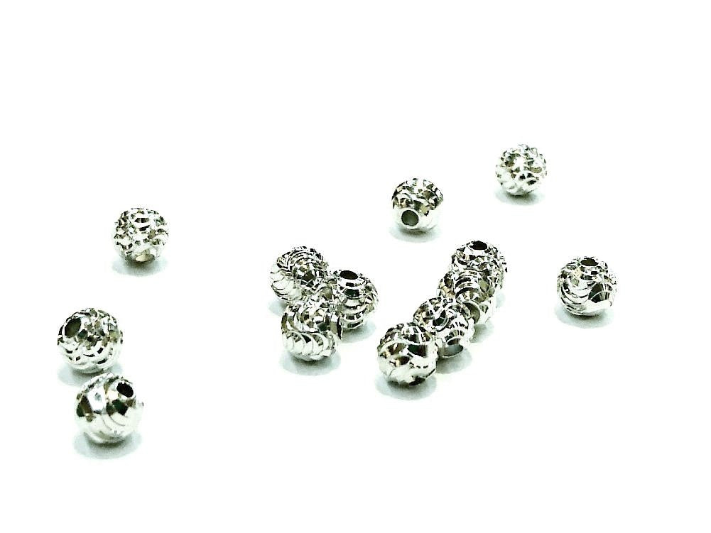 Beads, Sterling Silver, Multi-cut, 5mm  | 925銀珠, 5mm批花圓珠