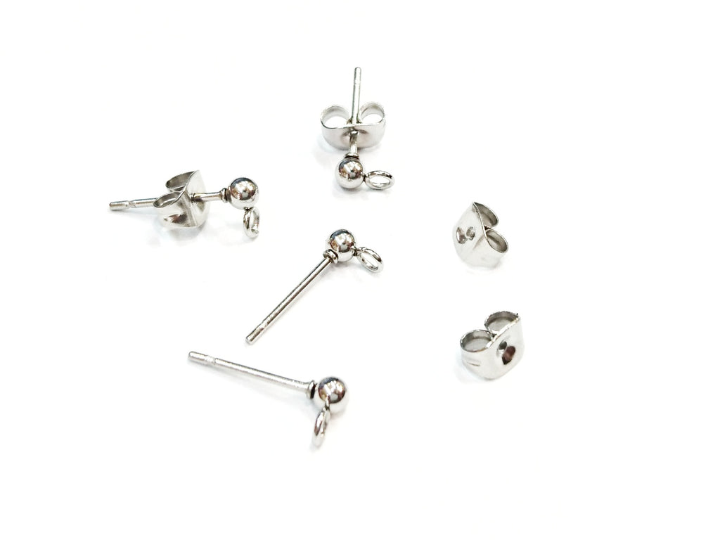 Stainless Steel Ball Earring Stud Pins, 3mm Ball with Ring, 2 Pairs | 不鏽鋼耳針, 3mm圓珠鋼色, 2對