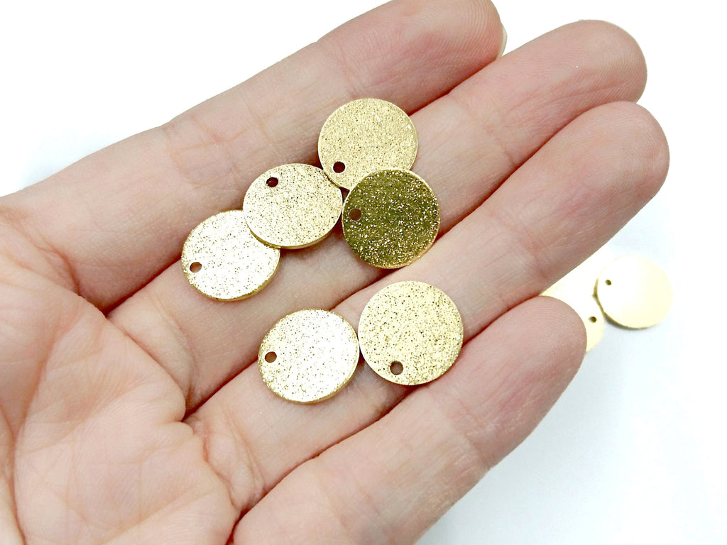 Brass Charm, Stardust Round Disc Charms, 10/12mm, raw brass, 20 pcs | 圖形銅片, 10/12mm, 黃銅色, 20個