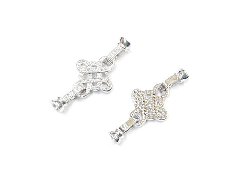 Snap Clasp, 17x40mm, Celtic Pattern, Cubic Zirconia | 閃石鏈扣, 17x40mm