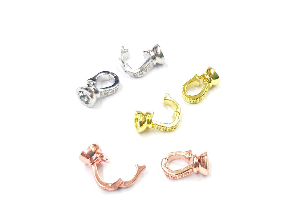 Snap Clasp, 6.5x23mm, Clear Cubic Zirconia | 閃石鏈扣, 6.5x23mm