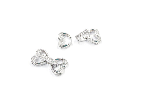 Snap Clasp, 11x21mm, Heart, Cubic Zirconia | 閃石鏈扣, 11x21mm