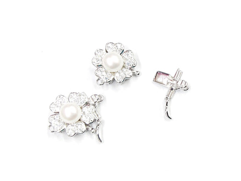 Box Clasp, Sterling Silver, 13.5mm, Cubic Zirconia, Flower | 閃石鏈扣, 925銀插扣, 13.5mm