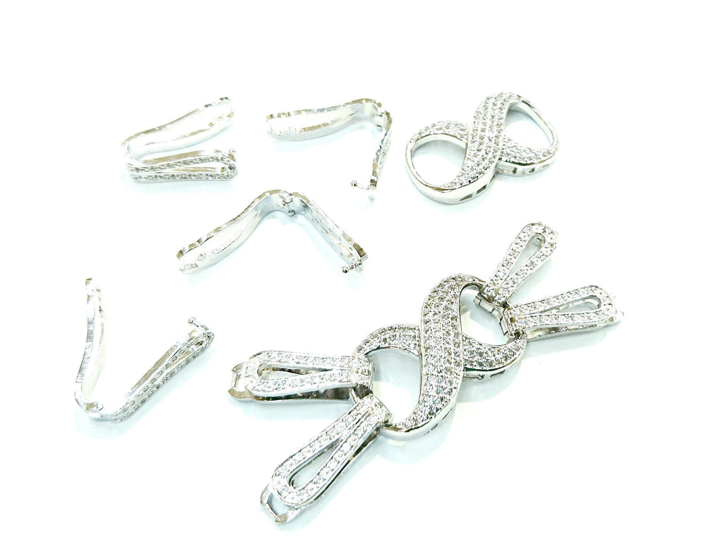 Snap Clasp, Latch Fold Over, 2-strand, 2x7cm, Cubic Zirconia | 閃石鏈扣, 2排扣, 2x7cm
