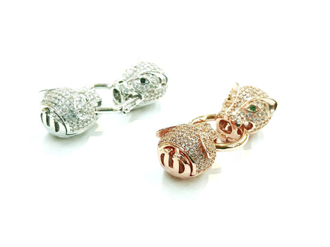 Twister Clasp, Jaguar, 14x40mm, Cubic Zirconia | 閃石鏈扣, 14x40mm