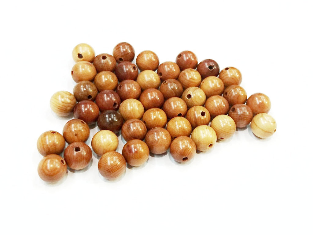 Wood beads, 8mm, 10mm, Round, Taxus Chinensis, Price per Pack | 木珠, 8mm/10mm圓, 紅豆杉木, 散珠包裝