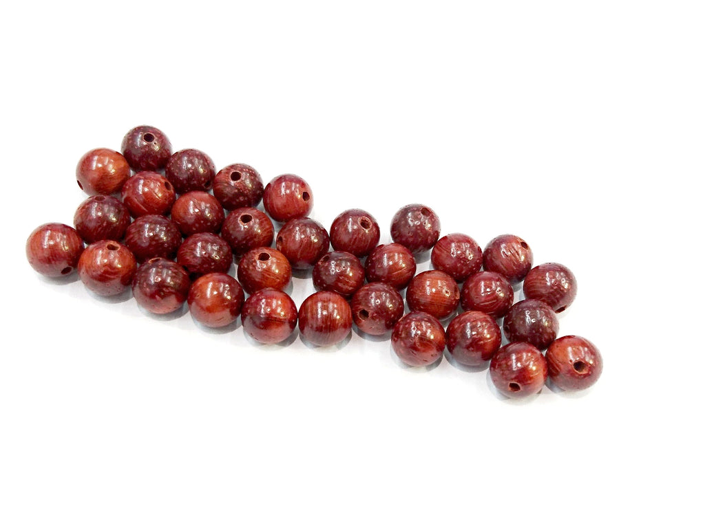 Wood beads, 8mm, 10mm, Round, Padauk, Price per Pack | 木珠, 8mm/10mm圓, 紹氏紫檀, 散珠包裝