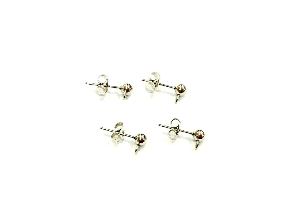 Stainless Steel Ball Earring Stud Pins, 4mm Ball with Ring, Price Per 2 Pairs - amakeit bead 天富