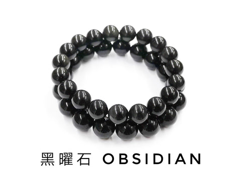 Obsidian, Bracelet, Single-Loop Elastic | 黑曜石, 單圈手鏈