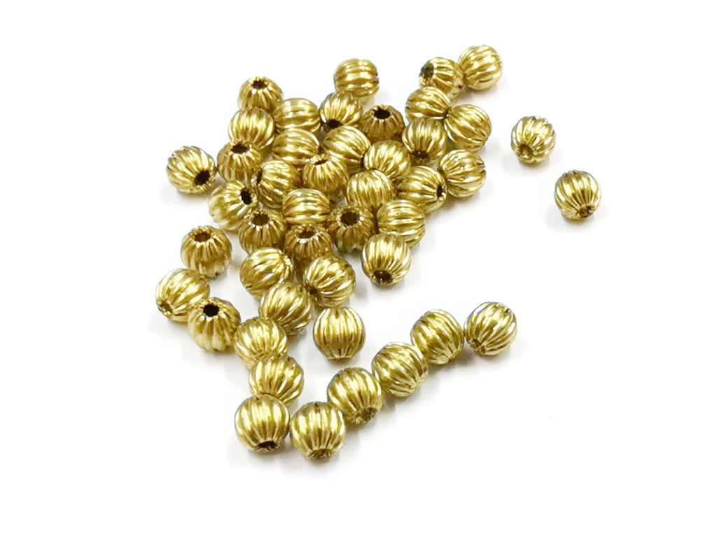 Brass Beads, Corrugated Round, Raw Brass, 4mm, 72 Pcs | 銅西瓜珠, 4mm, 黃銅胚色, 72個