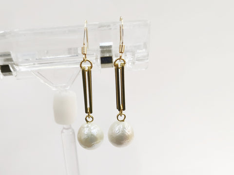 Earring, Geometric, Long Bar, Freshwater pearls, Price Per Pair | 耳環, 幾何, 長條, 淡水珍珠, 1對