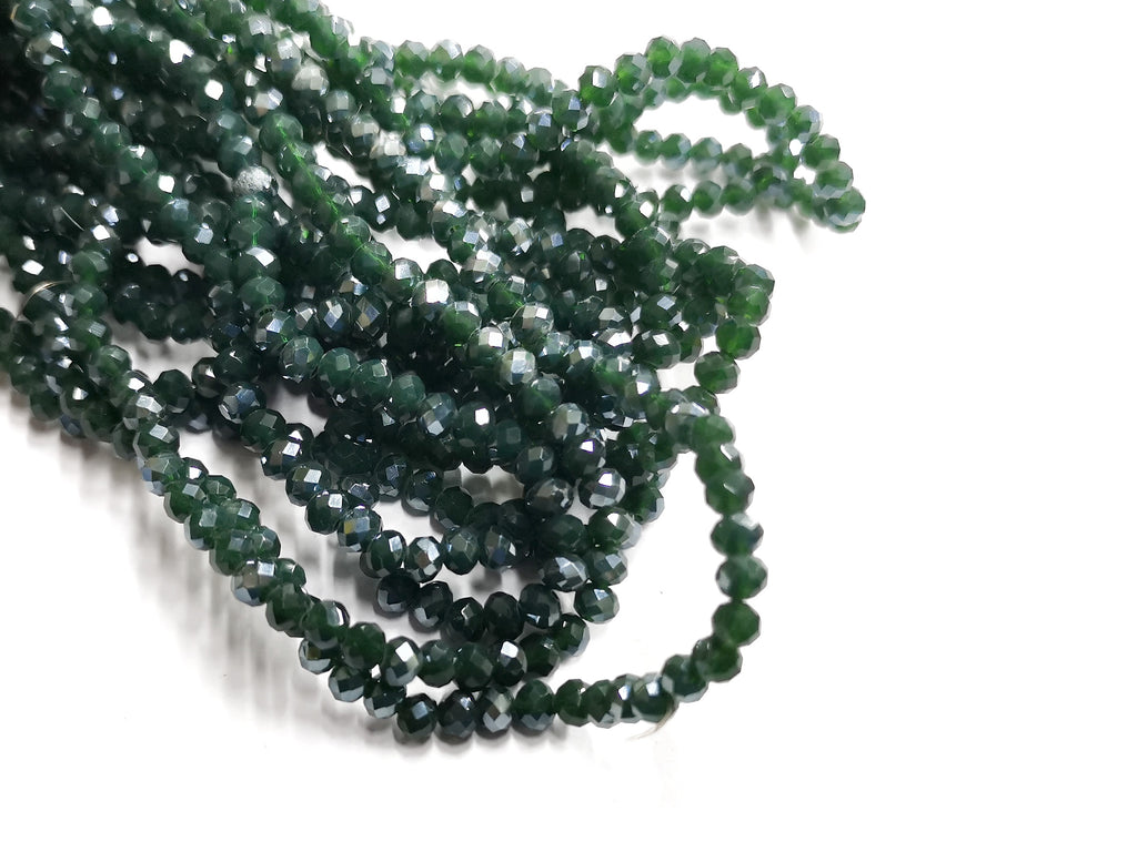 Glass beads, 3x4mm faceted rondelle, Opaque dark green, Lustre (#528L) | 玻璃珠, 3x4mm, 切面扁珠, 鍍面果凍深綠色, (#528L)