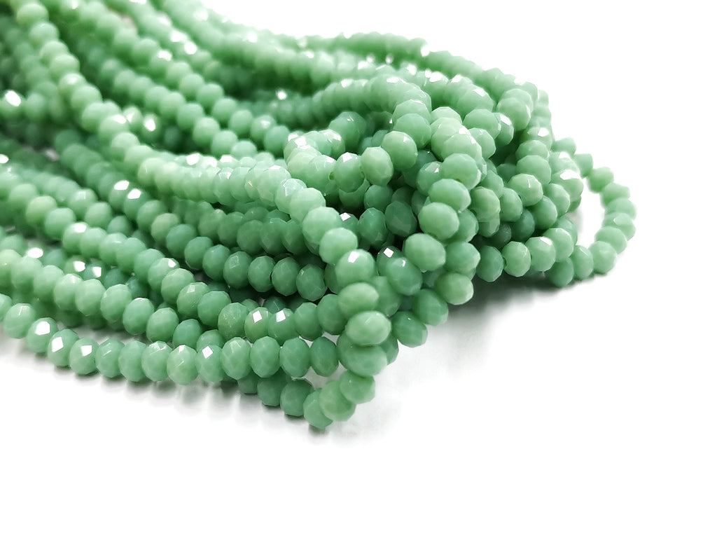 Glass beads 3x4mm faceted rondelle, Opaque pale green (#530) | 玻璃珠, 3x4mm, 切面扁珠, 果凍綠色 (#530)