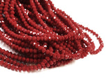 Glass beads, 3x3.5mm faceted rondelle, Solid dark Red (#505) | 玻璃珠, 3x3.5mm, 切面扁珠, 實色暗紅 (#505)