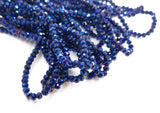 Glass beads, 3x3.5mm faceted rondelle, Metallic blue (#35) | 玻璃珠, 3x3.5mm, 切面扁珠, 金屬藍色 (#35)
